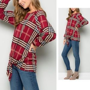 Rich Red Plaid, Tie Front Top